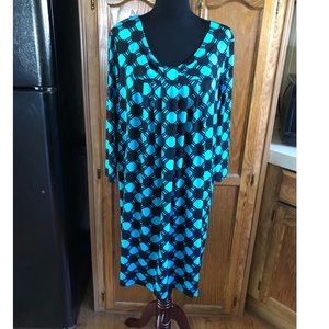 Turquoise and Black Babydoll Fit Dress XL